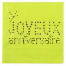 Serviette joyeux anniversaire verte (x20) REF/4005