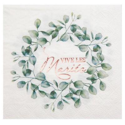 Serviette de table mariage blanche, verte et rose gold bucolique (x20) REF/7289