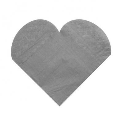 Serviette de table mariage coeur argent (x20) REF/3050