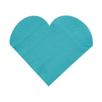 Serviette de table mariage coeur bleu turquoise (x20) REF/3050