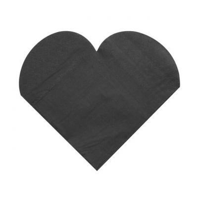 Serviette de table mariage coeur noire (x20) REF/3050