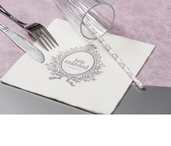 Serviette de table mariage just married 2
