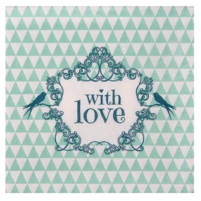 Serviette de table mariage vintage verte (x20) REF/4774