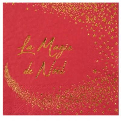 Serviette de table magie des étoiles de Noël rouge et dorée (x20) REF/7450