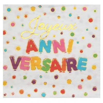 Serviette de table Joyeux Anniversaire multicolore 16.5cm (x20) REF/7226