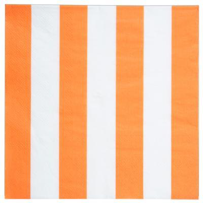 Serviette de table rayée orange (x20) REF/4072