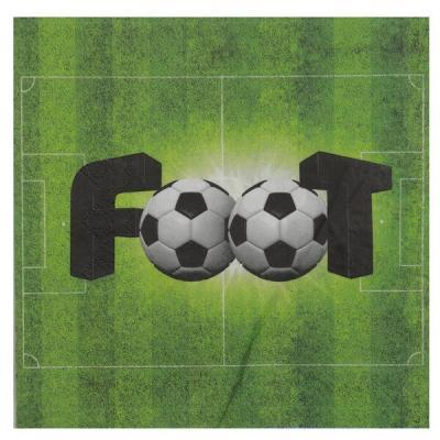 Serviette de table verte foot en papier 3 plis (x20) REF/6870