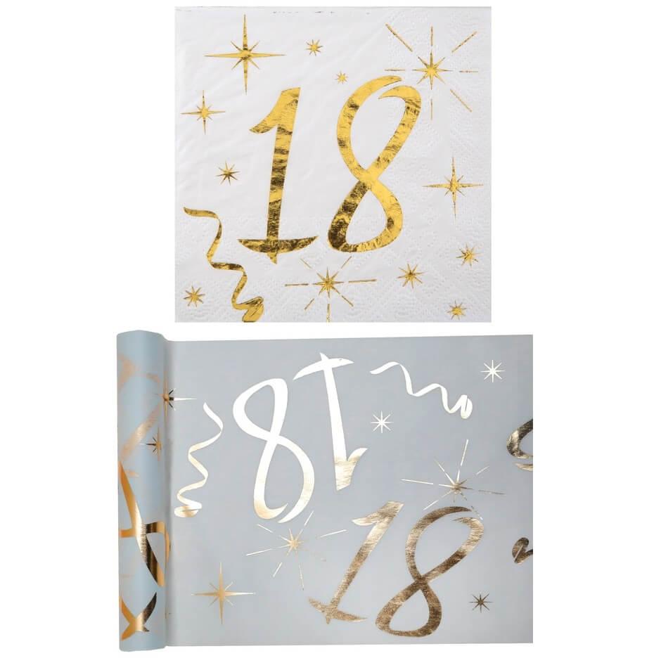 Serviette et chemin de table anniversaire 18ans or metallise et blanc