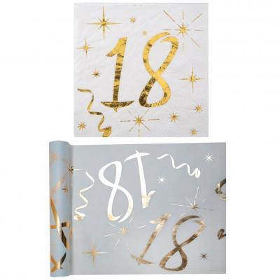 1 Pack serviette et chemin de table anniversaire 18ans or et blanc R/6158-6159