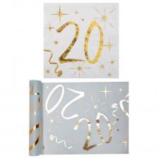 1 Pack serviette et chemin de table anniversaire 20ans or et blanc R/6158-6159