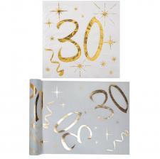 1 Pack serviette et chemin de table anniversaire 30ans or et blanc R/6158-6159