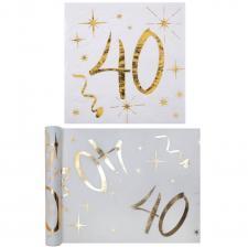1 Pack serviette et chemin de table anniversaire 40ans or et blanc R/6158-6159
