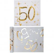 1 Pack serviette et chemin de table anniversaire 50ans or et blanc R/6158-6159