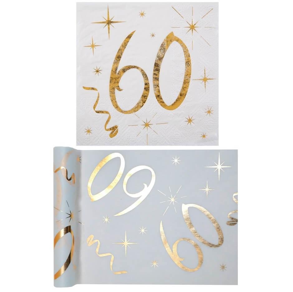 1 Pack Serviette Et Chemin De Table Anniversaire 60ans Or Et Blanc R6158 6159