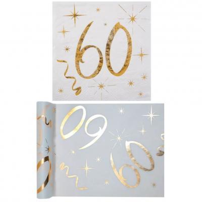 1 Pack serviette et chemin de table anniversaire 60ans or et blanc R/6158-6159