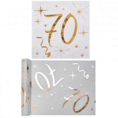 1 Pack serviette et chemin de table anniversaire 70ans or et blanc R/6158-6159
