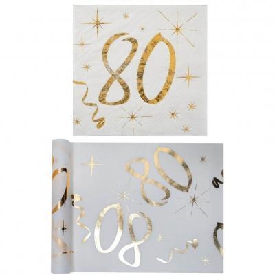 1 Pack serviette et chemin de table anniversaire 80ans or et blanc R/6158-6159