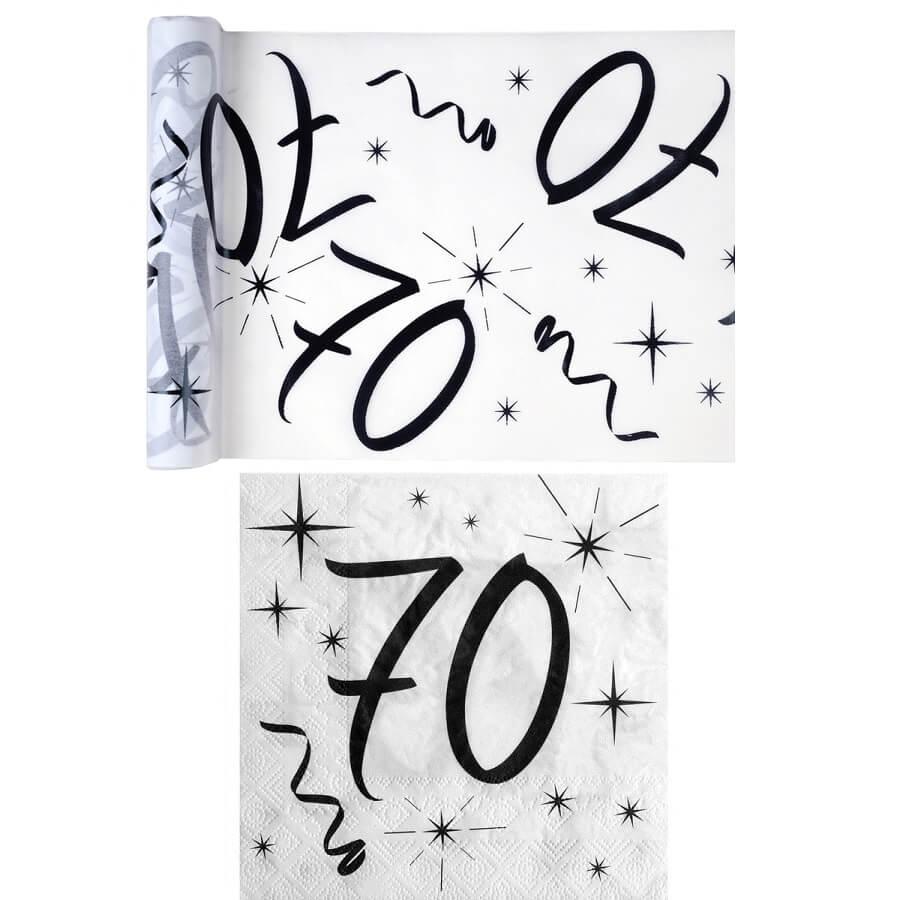 Serviette et chemin de table anniversaire blanc et noir 70 ans