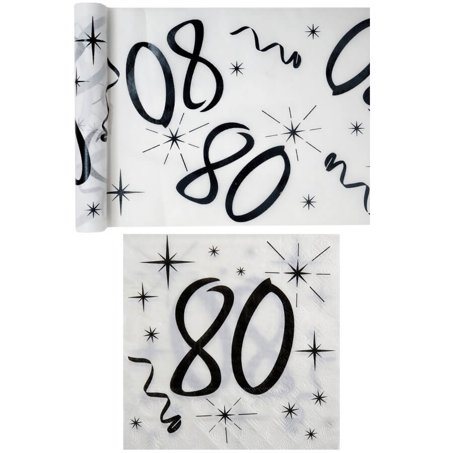 Serviette et chemin de table anniversaire blanc et noir 80 ans