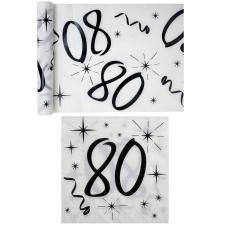 1 Pack serviette et chemin de table anniversaire 80ans blanc et noir R/5192-5241