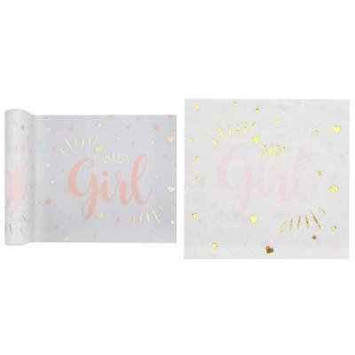 Pack décoration avec 1 chemin de table et 20 serviettes Baby Shower Girl en rose, blanc et doré REF/7254-7251