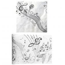 1 Pack serviette et chemin de table musique noir et blanc R/70090-70086