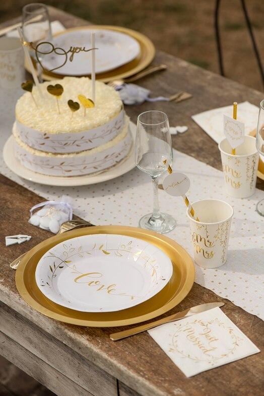 Serviette mariage cocktail blanche et doree just married
