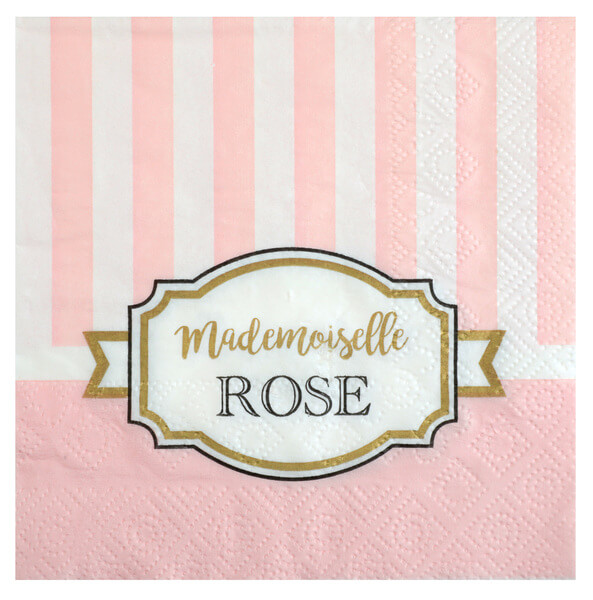 Serviette rose baby shower