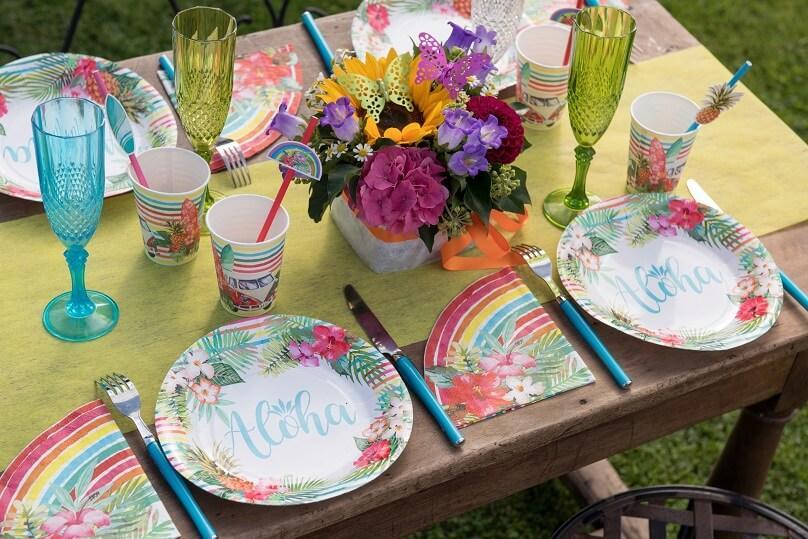 Serviette theme ile aloha multicolore