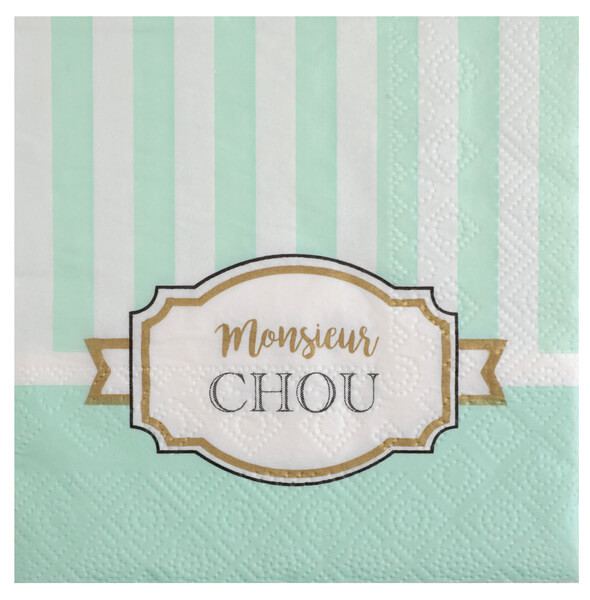 Serviette verte baby shower
