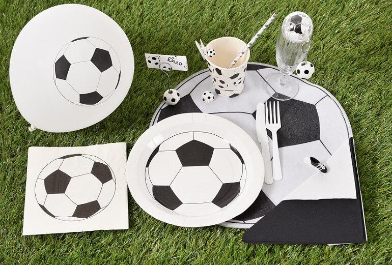 Set de table ballon de foot noir et blanc