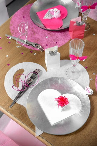 Set de table coeur blanc