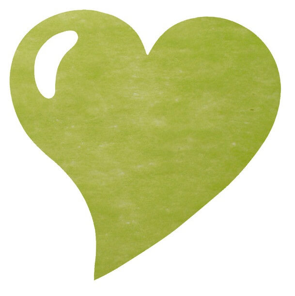Set de table mariage coeur vert 1
