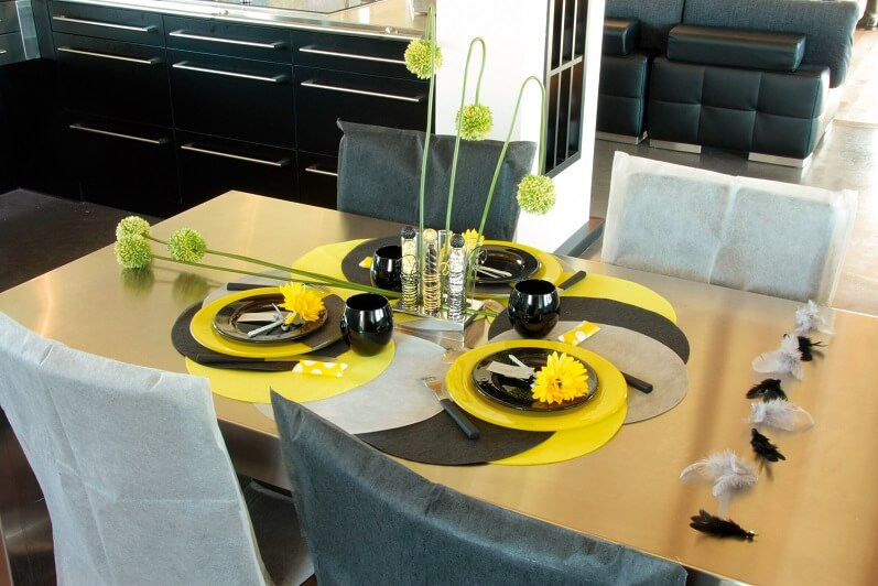 Set de table noir rond