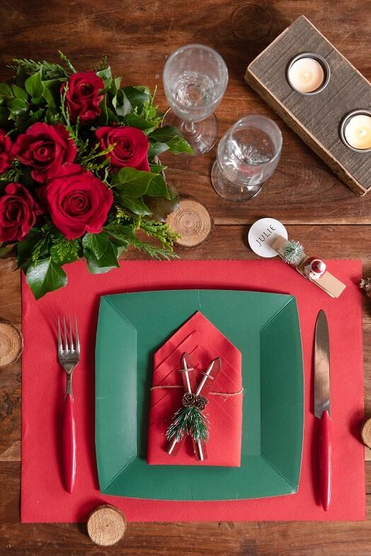 Set de table rouge chic de noel