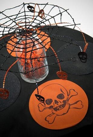 Set de table tete de mort orange 1