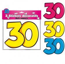3 Stickers: Anniversaire 30ans (x1) REF/DSA03
