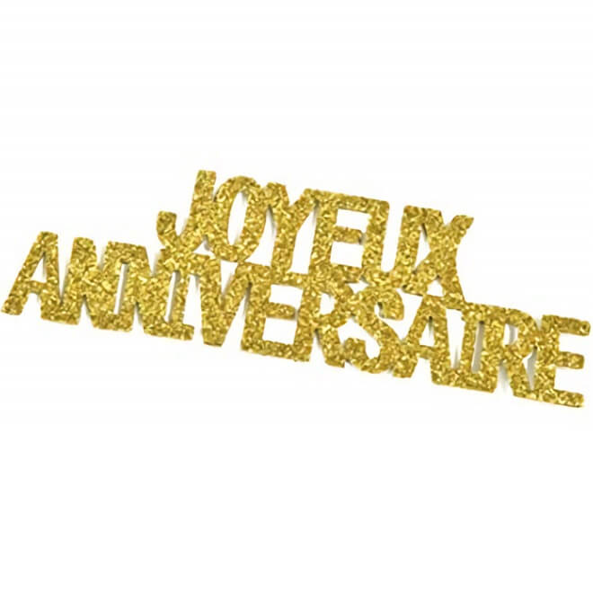 Stickers autocollant lettre joyeux anniversaire or pailletee