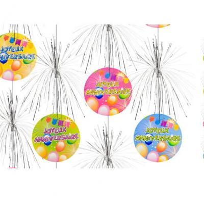 Suspension cascade joyeux anniversaire (x1) REF/AA1011PP/JA