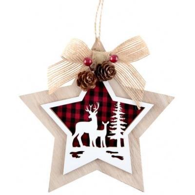 Suspension décorative étoile de Noël cerf et forêt 14.5cm (x1) REF/7011