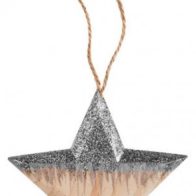 Suspension étoile pailletée naturelle et argent (x1) REF/5567