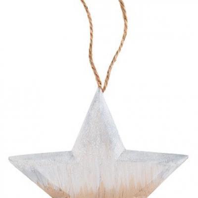 Suspension étoile pailletée naturelle et blanche (x1) REF/5567