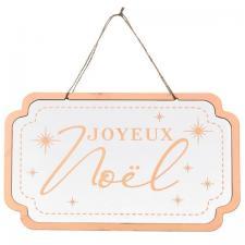 Décoration avec suspension pancarte Joyeux Noël blanche et rose gold en bois (x1) REF/6990