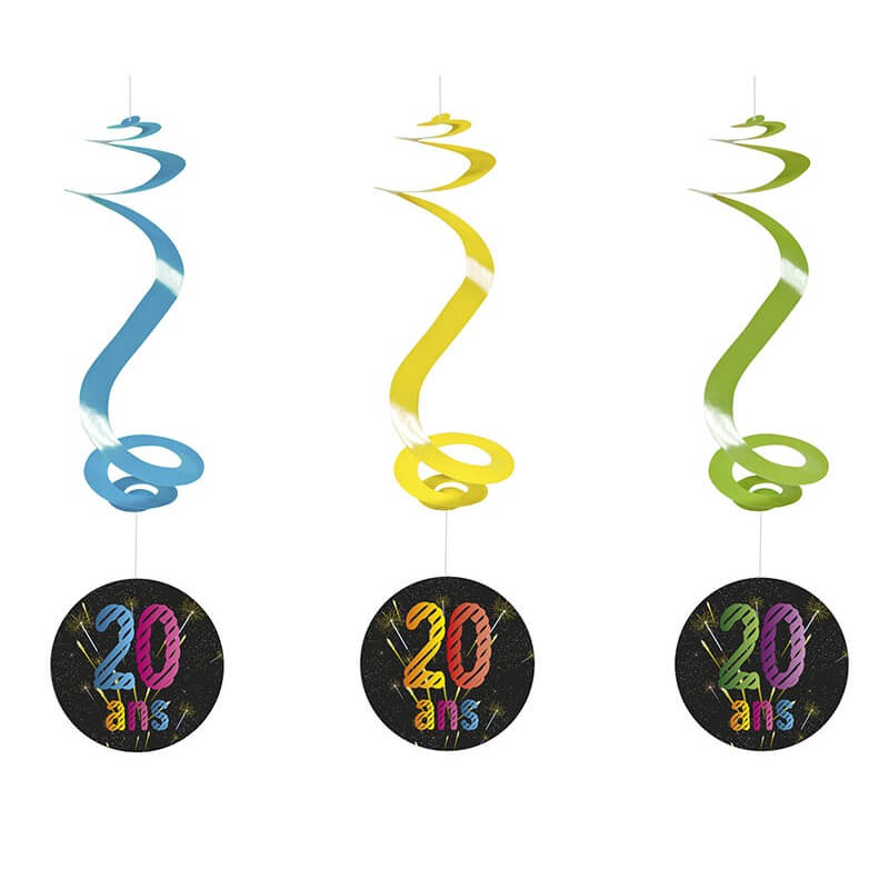Suspension spirale anniversaire noir 20ans