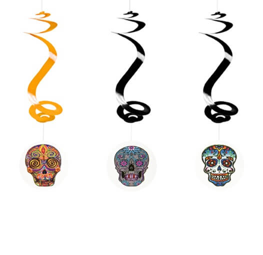 Suspension spirale halloween tete mexicaine