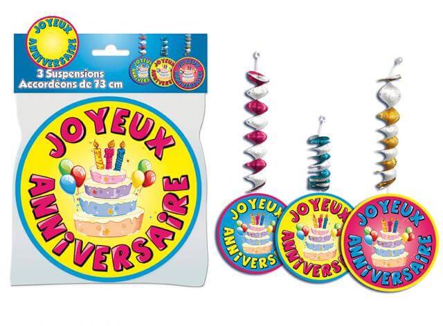 Suspensions accordeons joyeux anniversaire