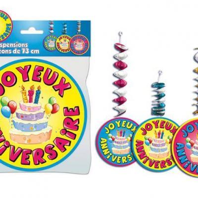 Suspensions accordéons joyeux anniversaire (x3) REF/SA00