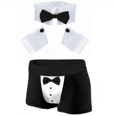 Déguisement pour adulte avec tenue sexy Chippendale noire et blanche (x1) REF/SEXR021