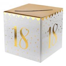 Tirelire anniversaire blanche et or 18ans (x1) REF/6186