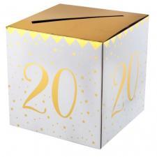 Tirelire anniversaire blanche et or 20ans (x1) REF/6186